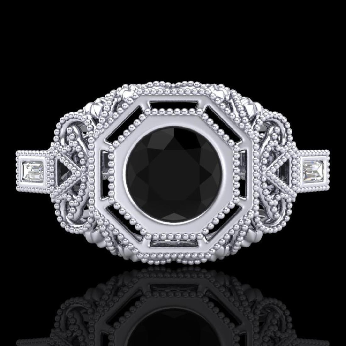 1.13 CTW Fancy Black Diamond Solitaire Engagement Art - 2