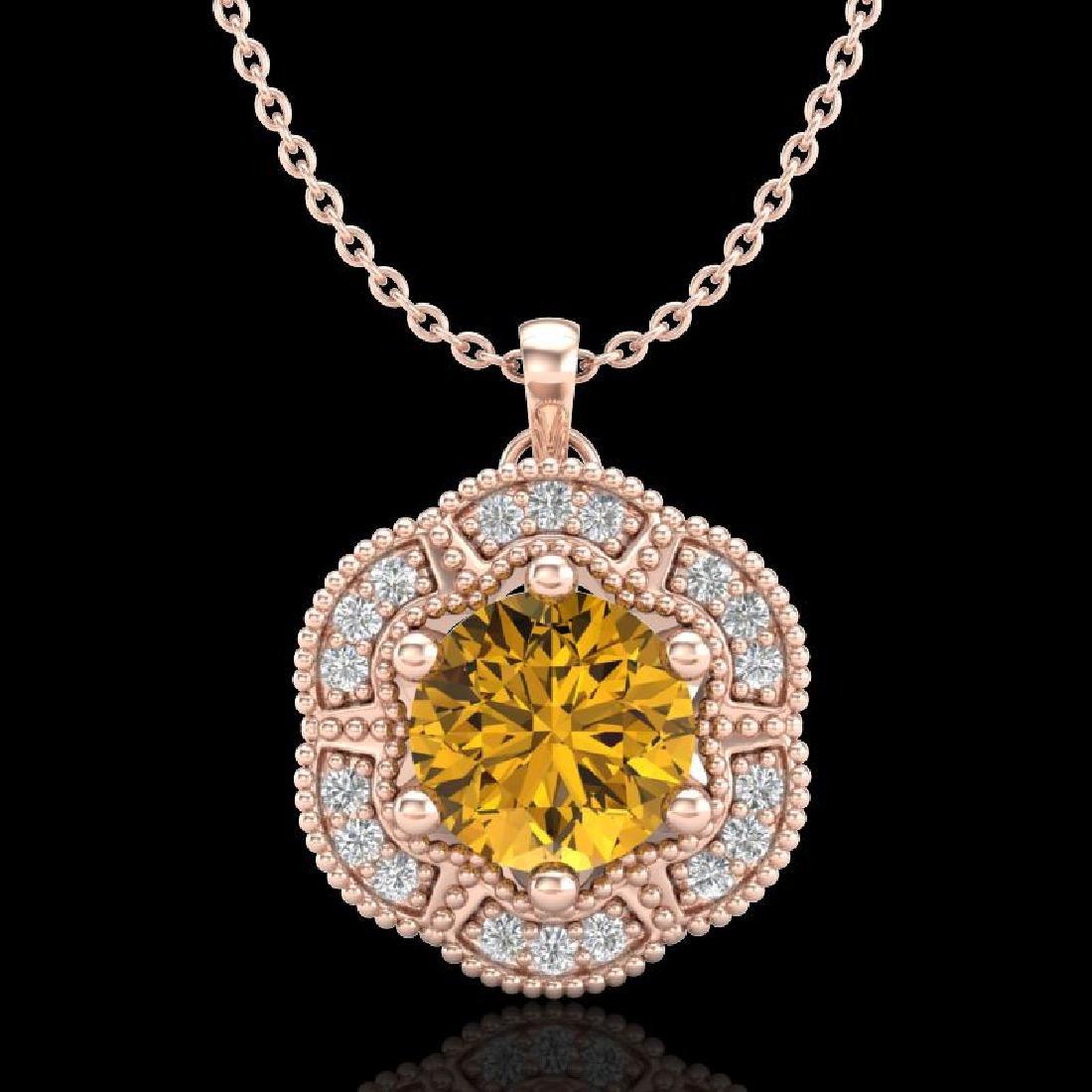 1.01 CTW Intense Fancy Yellow Diamond Art Deco Stud