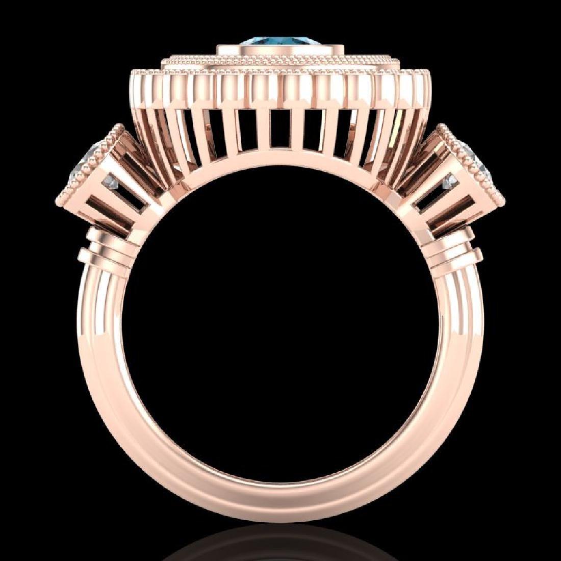 2.62 CTW Intense Blue Diamond Solitaire Art Deco 3 - 3