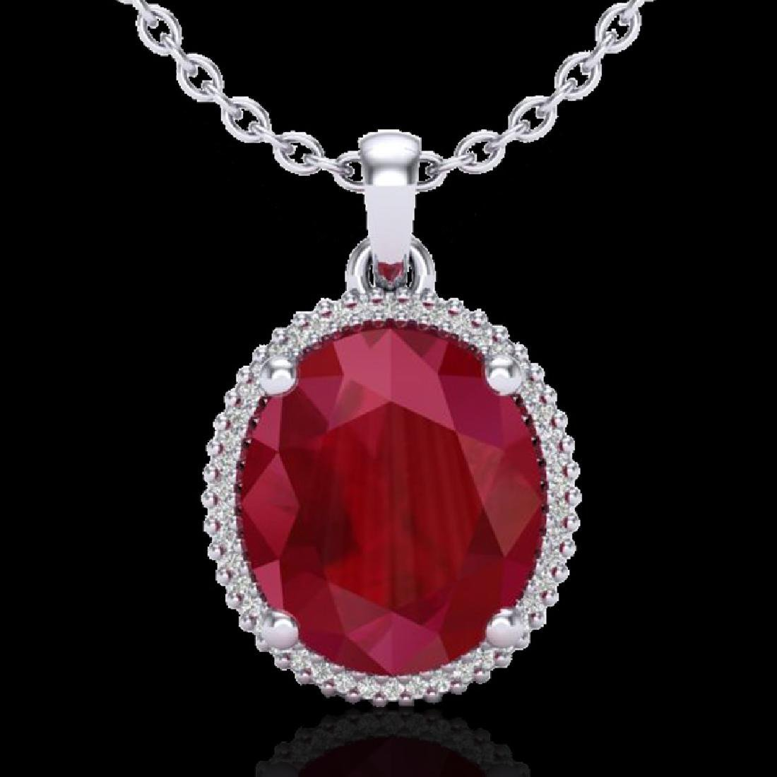 12 CTW Ruby & Micro Pave VS/SI Diamond Halo Necklace