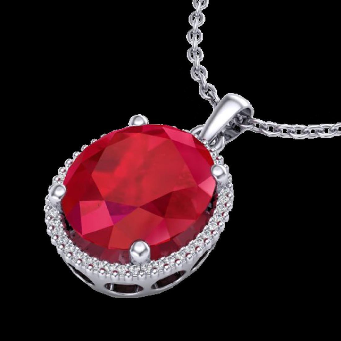 12 CTW Ruby & Micro Pave VS/SI Diamond Halo Necklace - 2