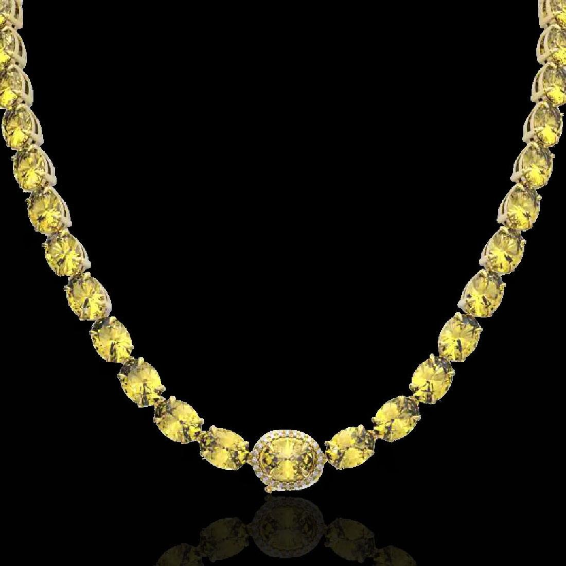 45.25 CTW Citrine & VS/SI Diamond Tennis Micro Pave - 2