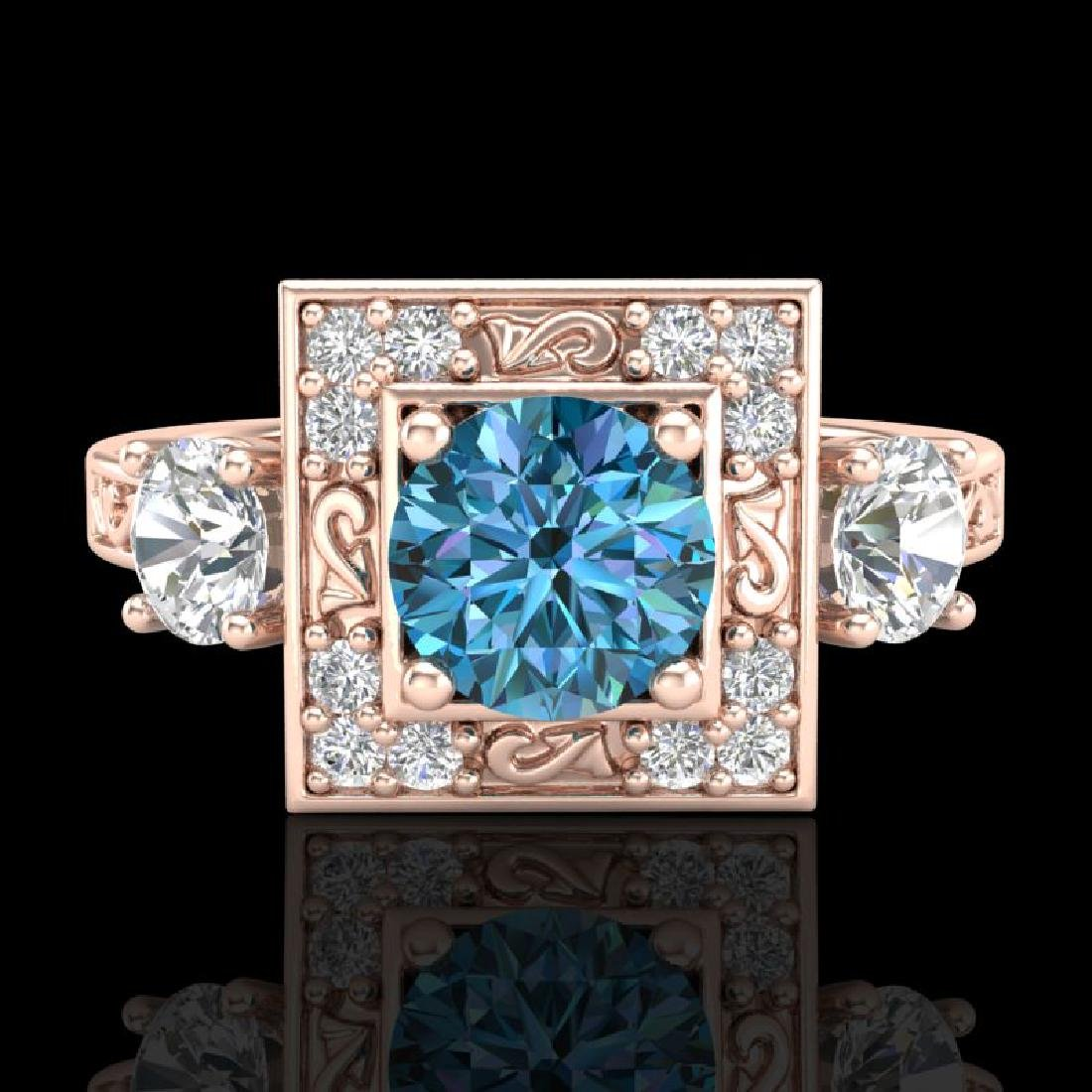 1.55 CTW Intense Blue Diamond Solitaire Art Deco 3 - 2