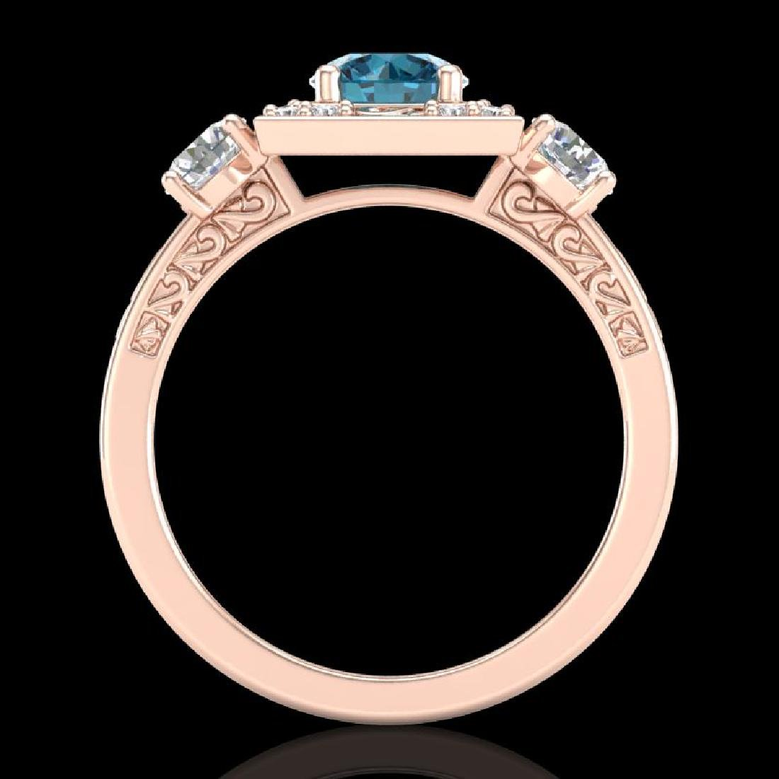 1.55 CTW Intense Blue Diamond Solitaire Art Deco 3 - 3