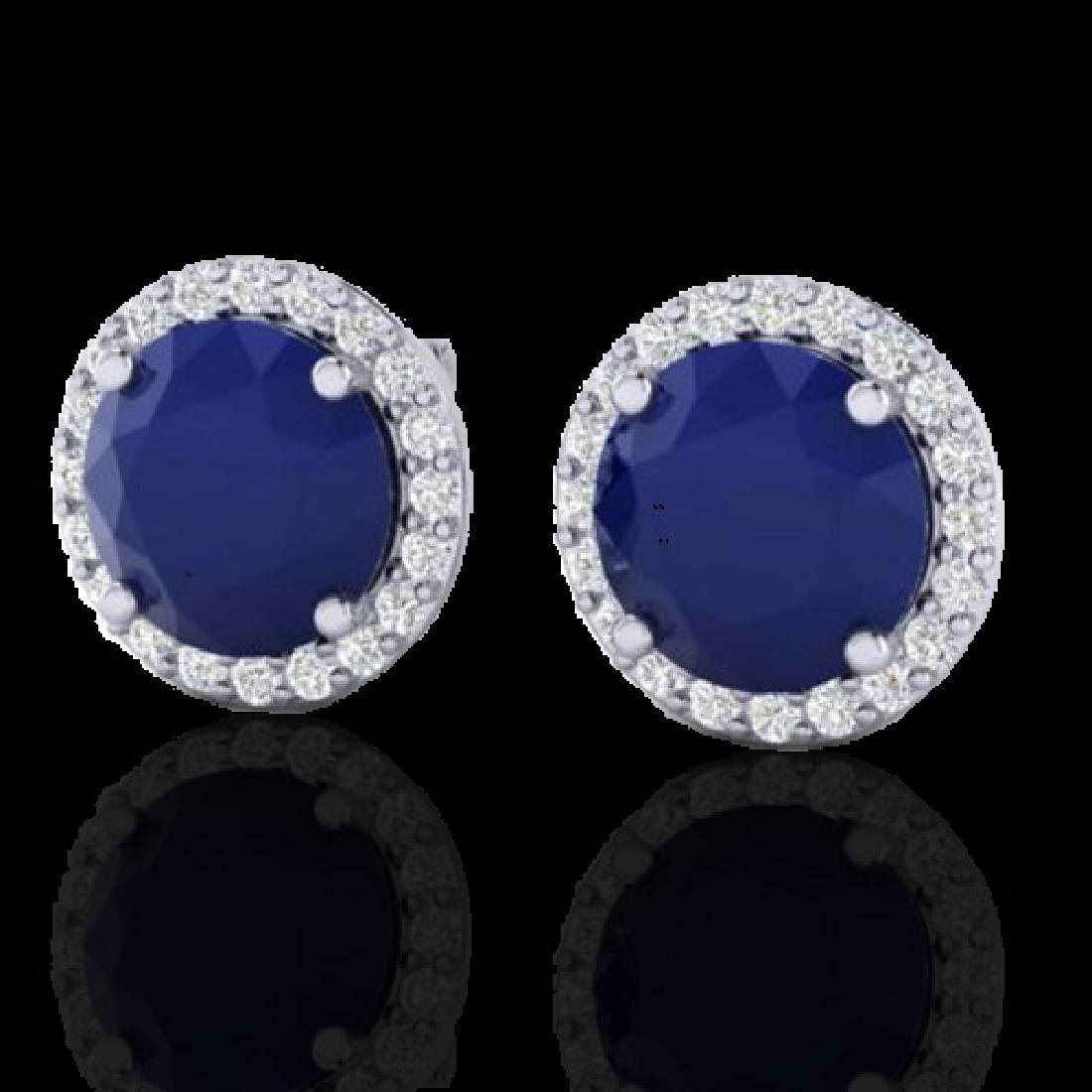 4 CTW Sapphire & Halo VS/SI Diamond Micro Pave Earrings