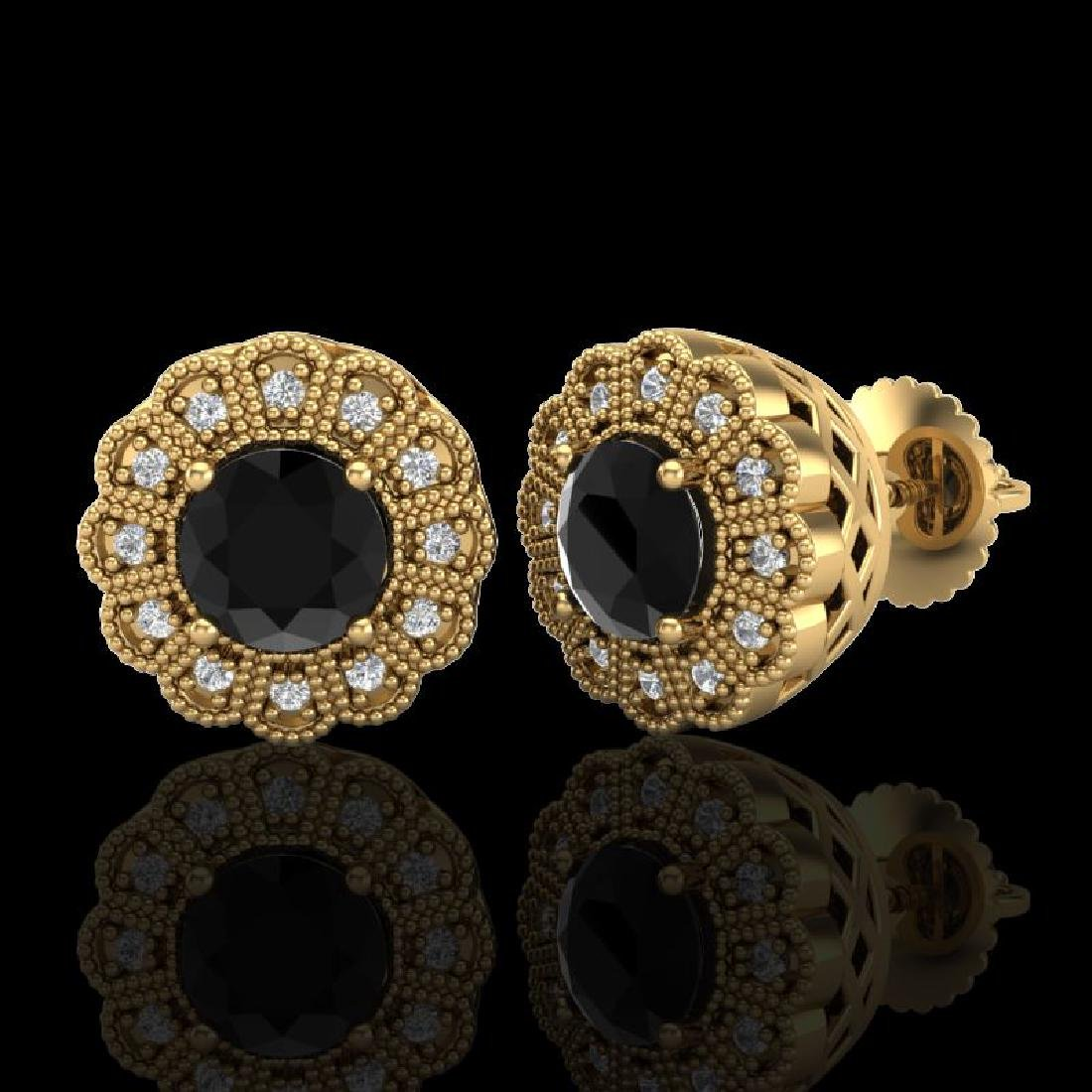 1.32 CTW Fancy Black Diamond Solitaire Art Deco Stud - 2