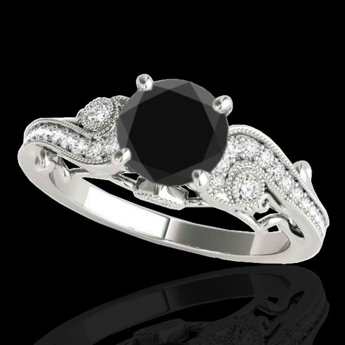 1.5 CTW Certified VS Black Diamond Solitaire Antique