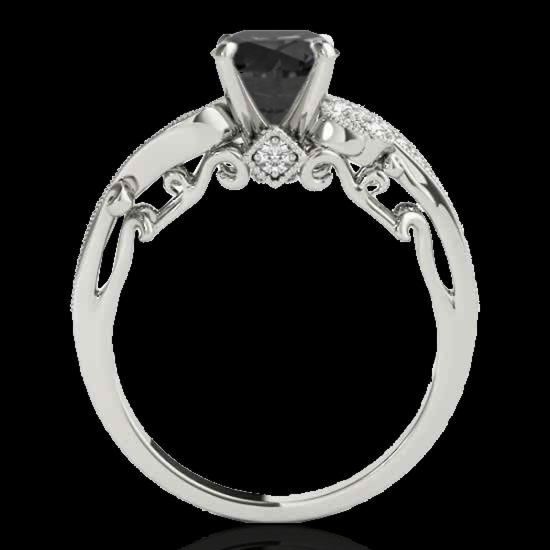 1.5 CTW Certified VS Black Diamond Solitaire Antique - 2