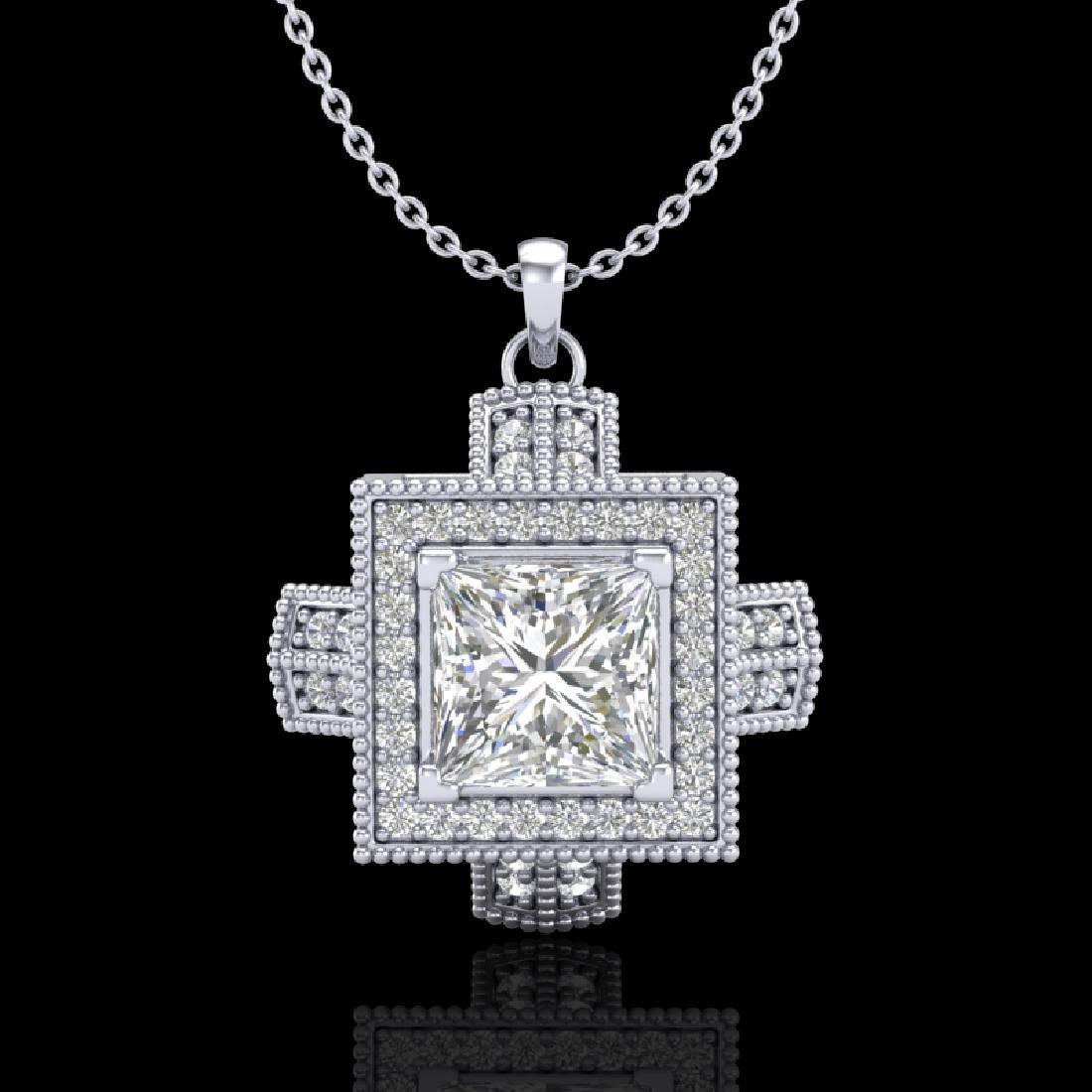 1.46 CTW Princess VS/SI Diamond Solitaire Micro Pave
