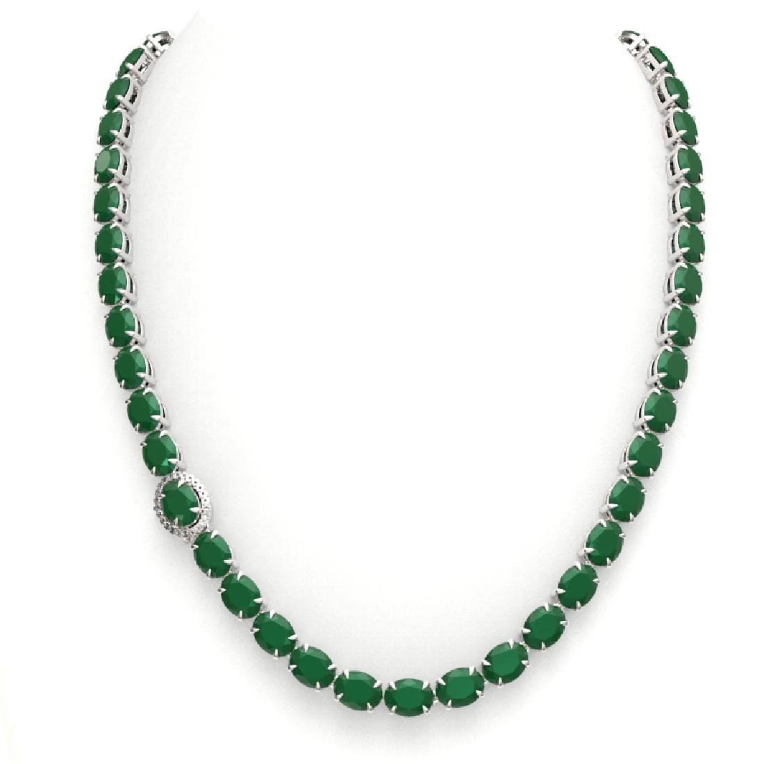 54.25 CTW Emerald & VS/SI Diamond Tennis Micro Pave - 3
