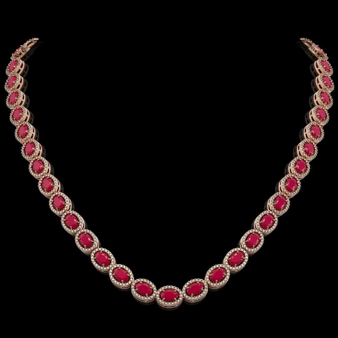 34.11 CTW Ruby & Diamond Halo Necklace 10K Rose Gold