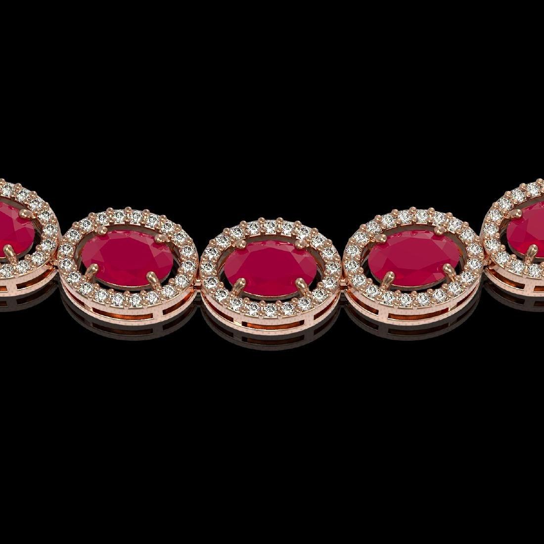 34.11 CTW Ruby & Diamond Halo Necklace 10K Rose Gold - 3