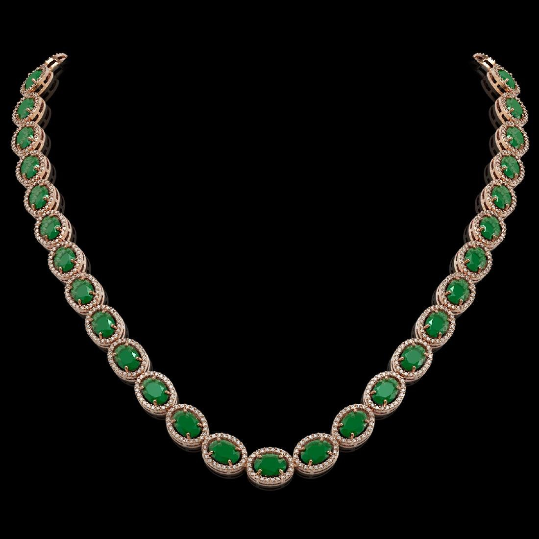 52.15 CTW Emerald & Diamond Halo Necklace 10K Rose Gold