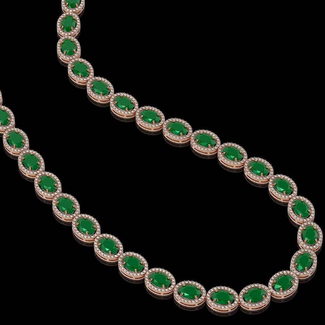 52.15 CTW Emerald & Diamond Halo Necklace 10K Rose Gold - 2