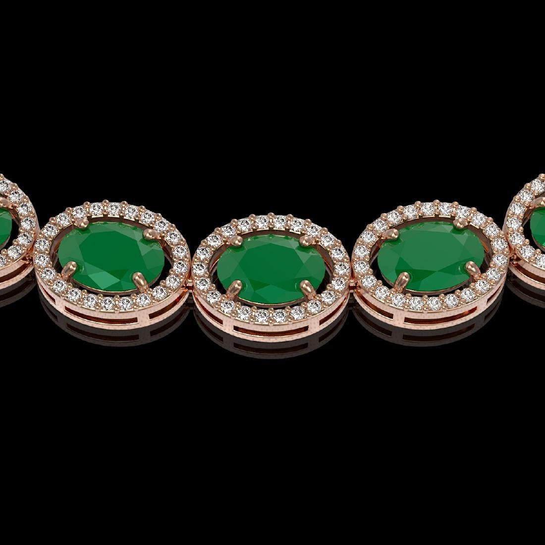 52.15 CTW Emerald & Diamond Halo Necklace 10K Rose Gold - 3