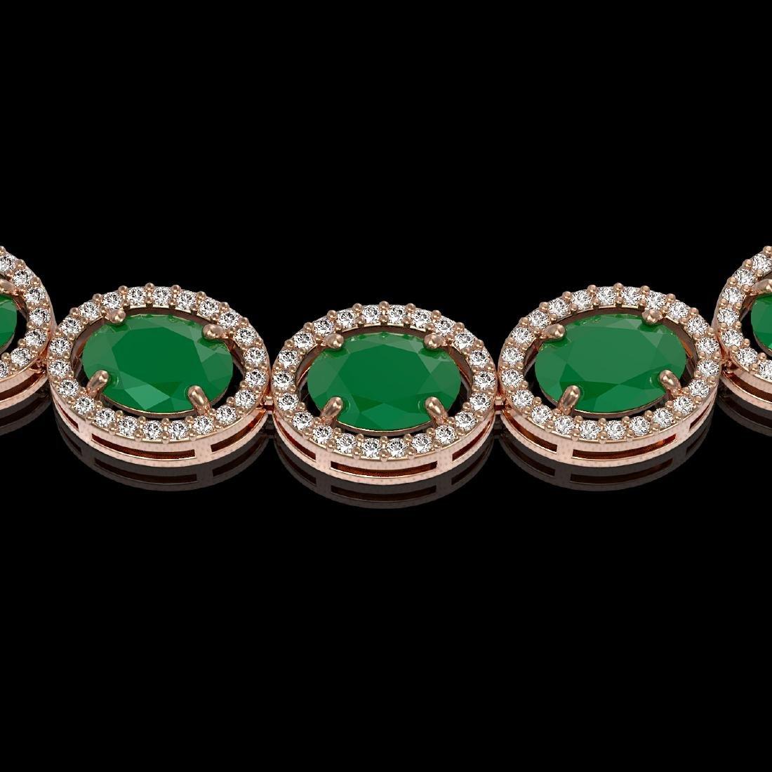 52.15 CTW Emerald & Diamond Halo Necklace 10K Rose Gold - 3
