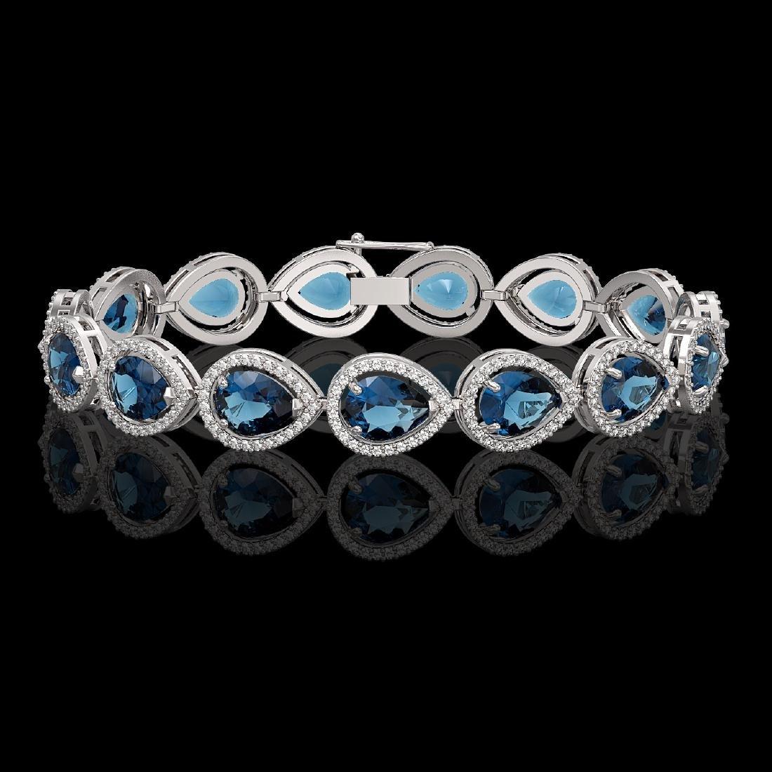 21.06 CTW London Topaz & Diamond Halo Bracelet 10K