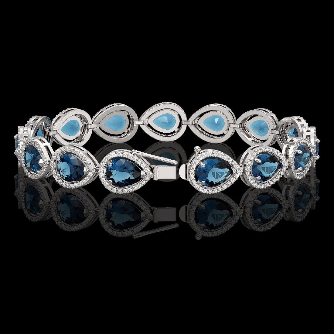 21.06 CTW London Topaz & Diamond Halo Bracelet 10K - 2