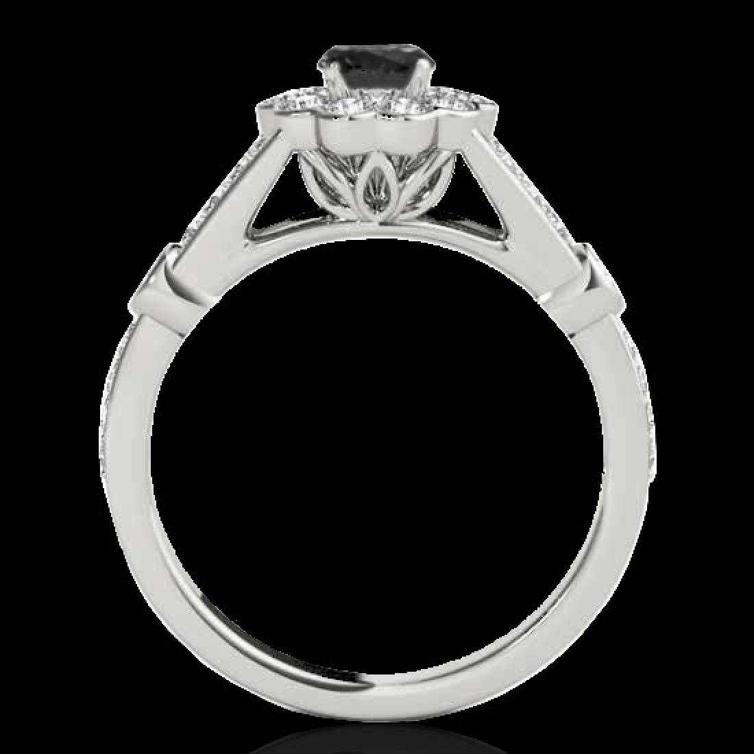 1.9 CTW Certified VS Black Diamond Solitaire Halo Ring - 2