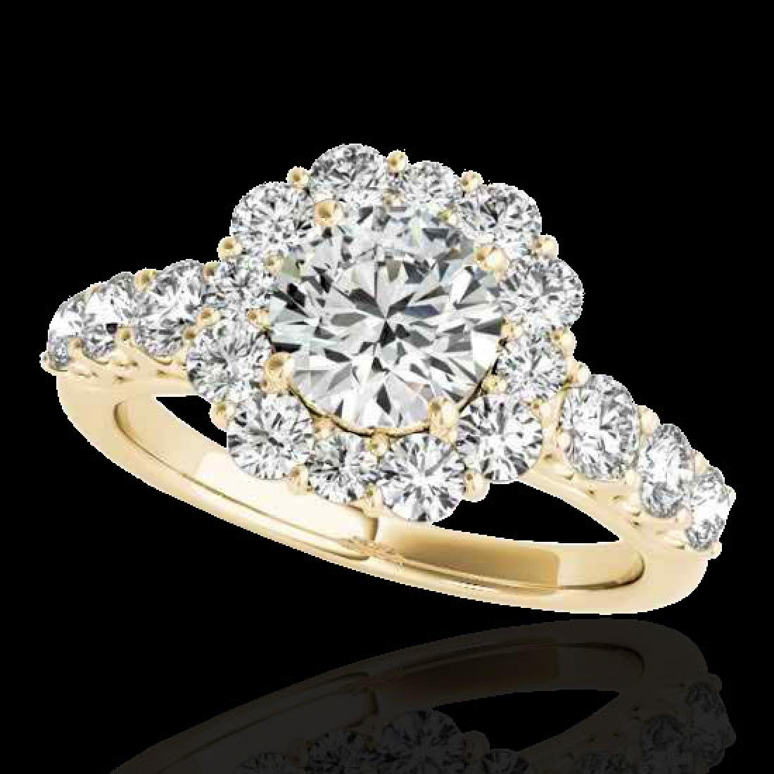 2.9 CTW H-SI/I Certified Diamond Solitaire Halo Ring