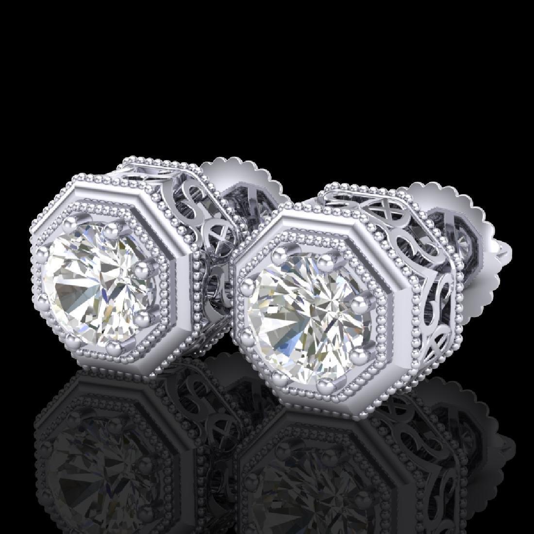1.07 CTW VS/SI Diamond Solitaire Art Deco Stud Earrings