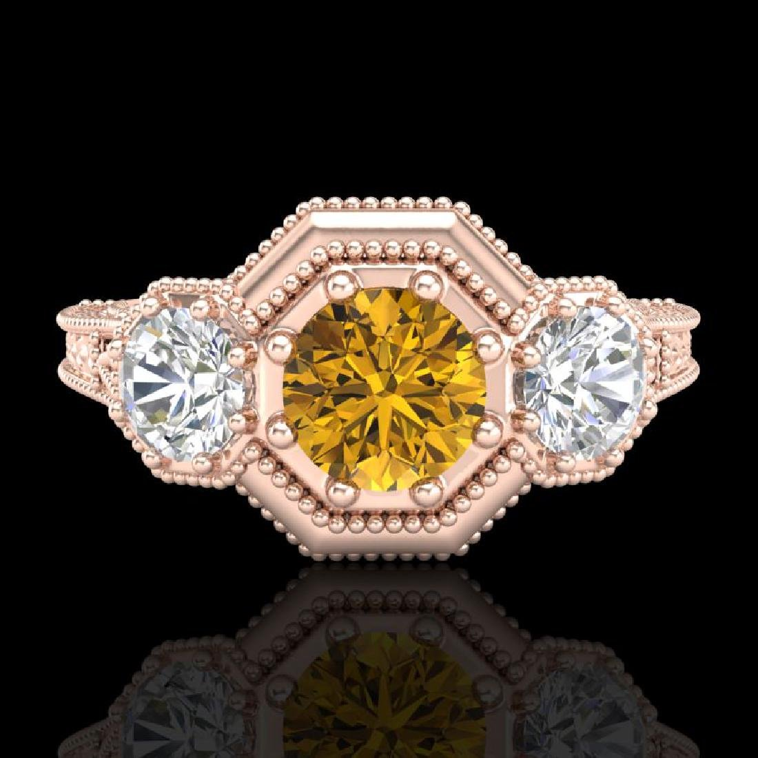 1.05 CTW Intense Fancy Yellow Diamond Art Deco 3 Stone - 2