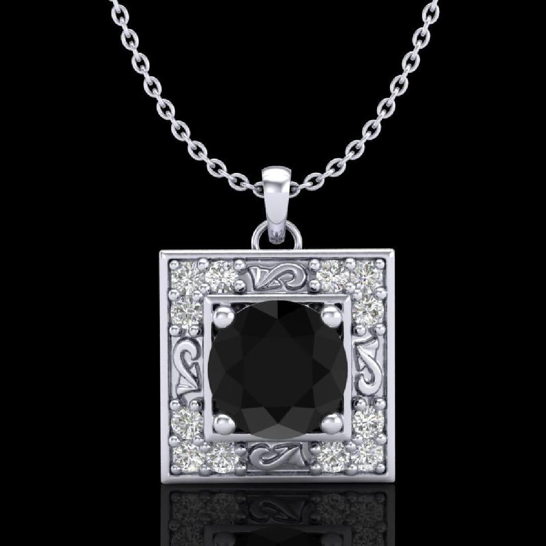 1.02 CTW Fancy Black Diamond Solitaire Art Deco Stud