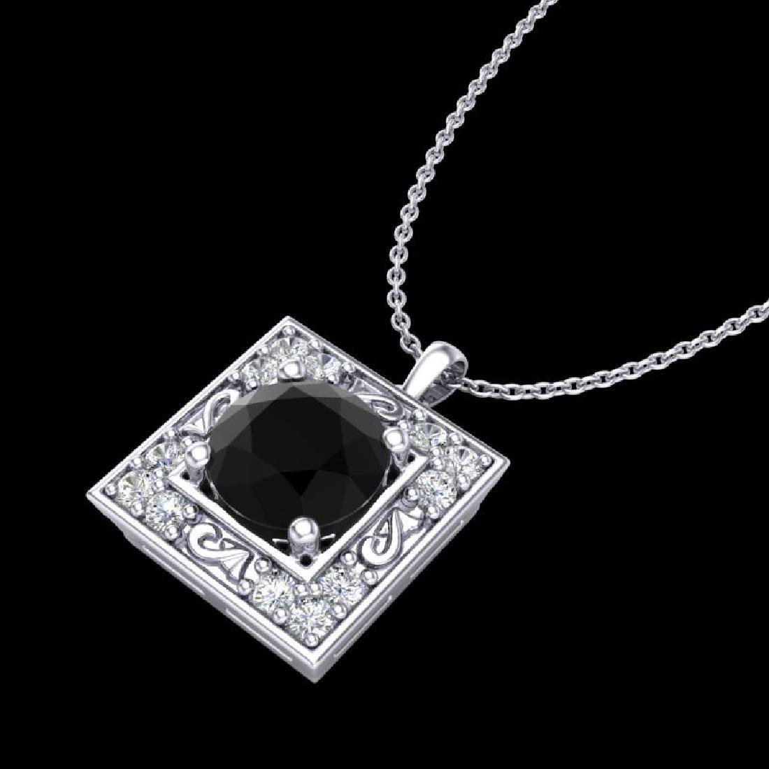 1.02 CTW Fancy Black Diamond Solitaire Art Deco Stud - 2