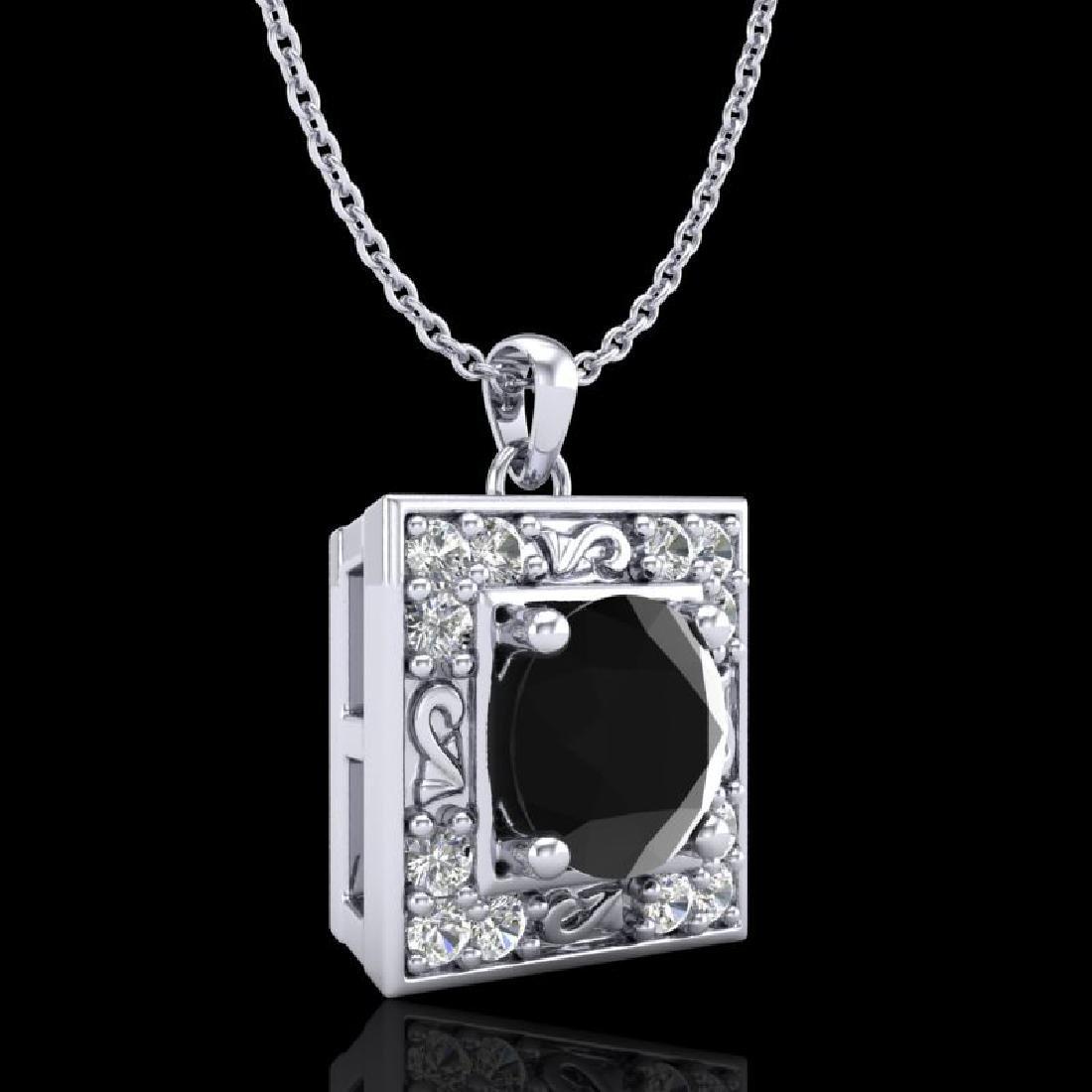 1.02 CTW Fancy Black Diamond Solitaire Art Deco Stud - 3