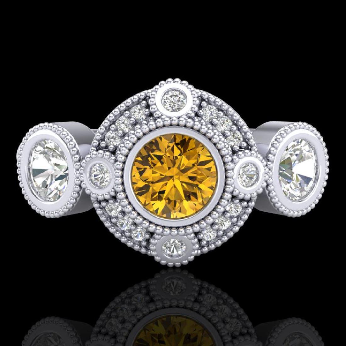 1.51 CTW Intense Fancy Yellow Diamond Art Deco 3 Stone - 2