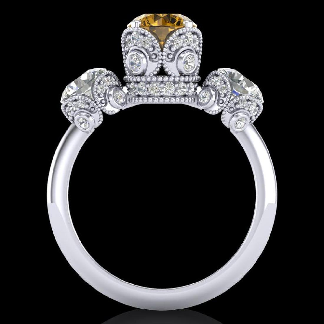 3 CTW Intense Yellow Diamond Solitaire Art Deco 3 Stone - 3