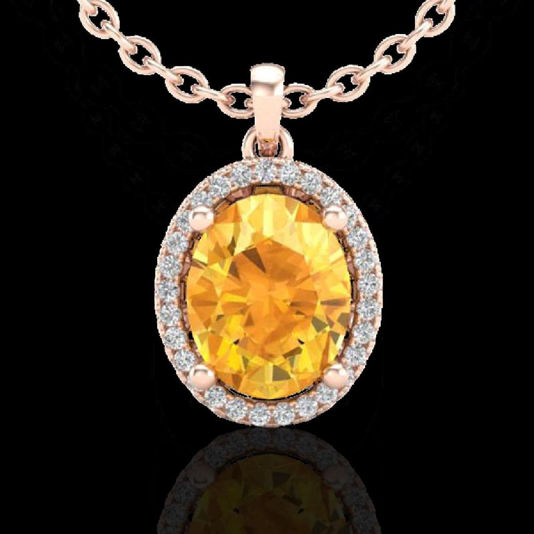 2.50 CTW Citrine & Micro Pave VS/SI Diamond Necklace - 2