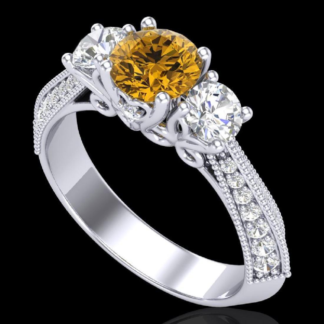1.81 CTW Intense Fancy Yellow Diamond Art Deco 3 Stone