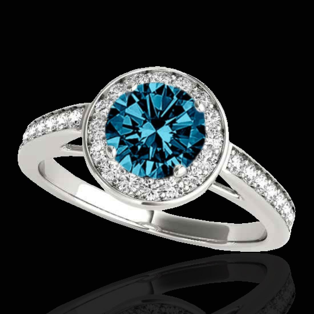 1.45 CTW SI Certified Fancy Blue Diamond Solitaire Halo