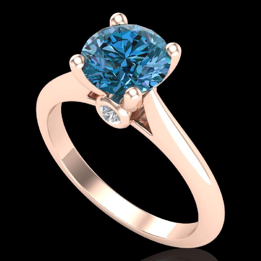 1.6 CTW Intense Blue Diamond Solitaire Engagement Art