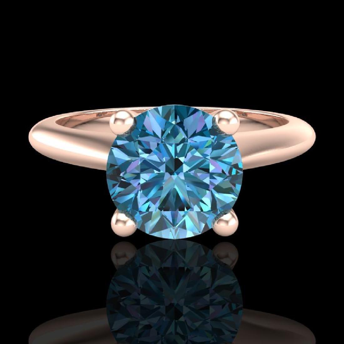 1.6 CTW Intense Blue Diamond Solitaire Engagement Art - 2