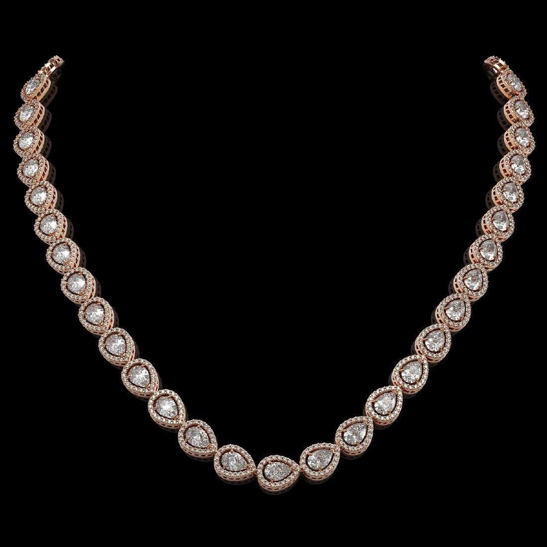 28.74 CTW Pear Diamond Designer Necklace 18K Rose Gold