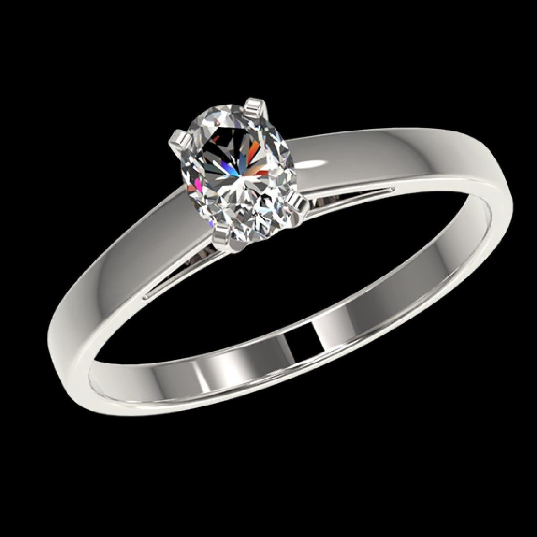 0.50 CTW Certified VS/SI Quality Oval Diamond - 2