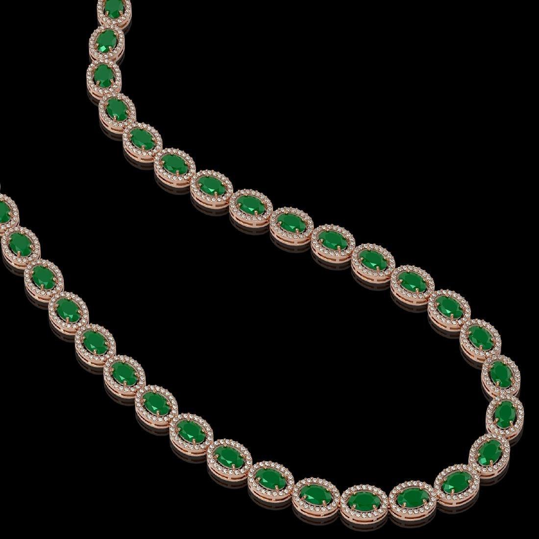 34.11 CTW Emerald & Diamond Halo Necklace 10K Rose Gold - 2
