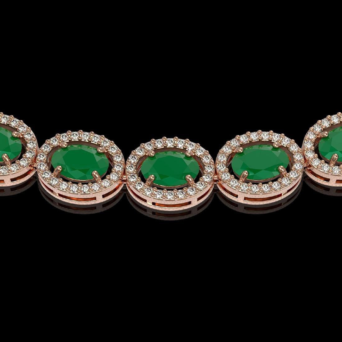 34.11 CTW Emerald & Diamond Halo Necklace 10K Rose Gold - 3