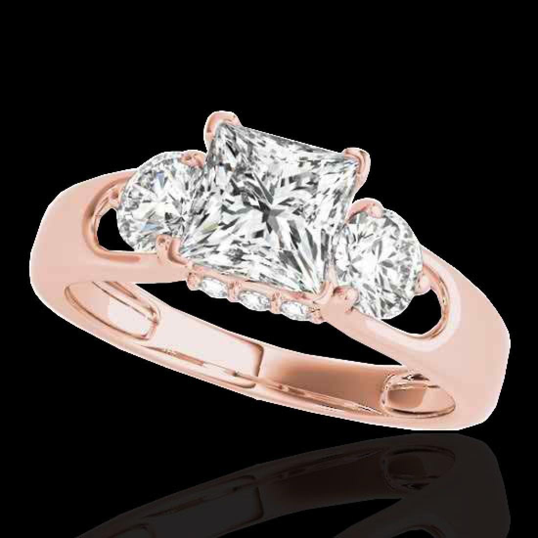 1.6 CTW VS/SI Certified Princess Cut Diamond 3 Stone