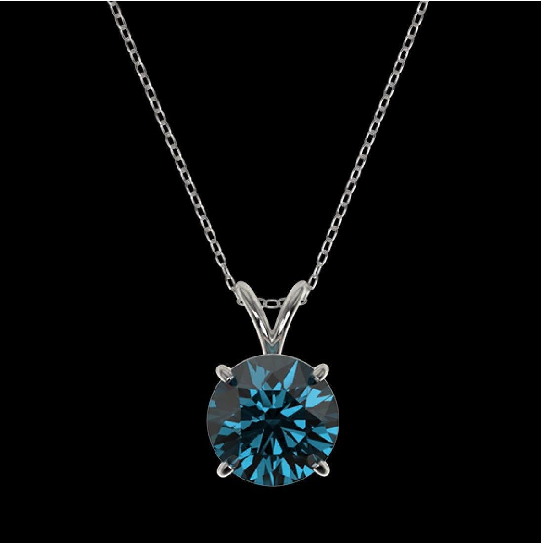 2.04 CTW Certified Intense Blue SI Diamond Solitaire - 3