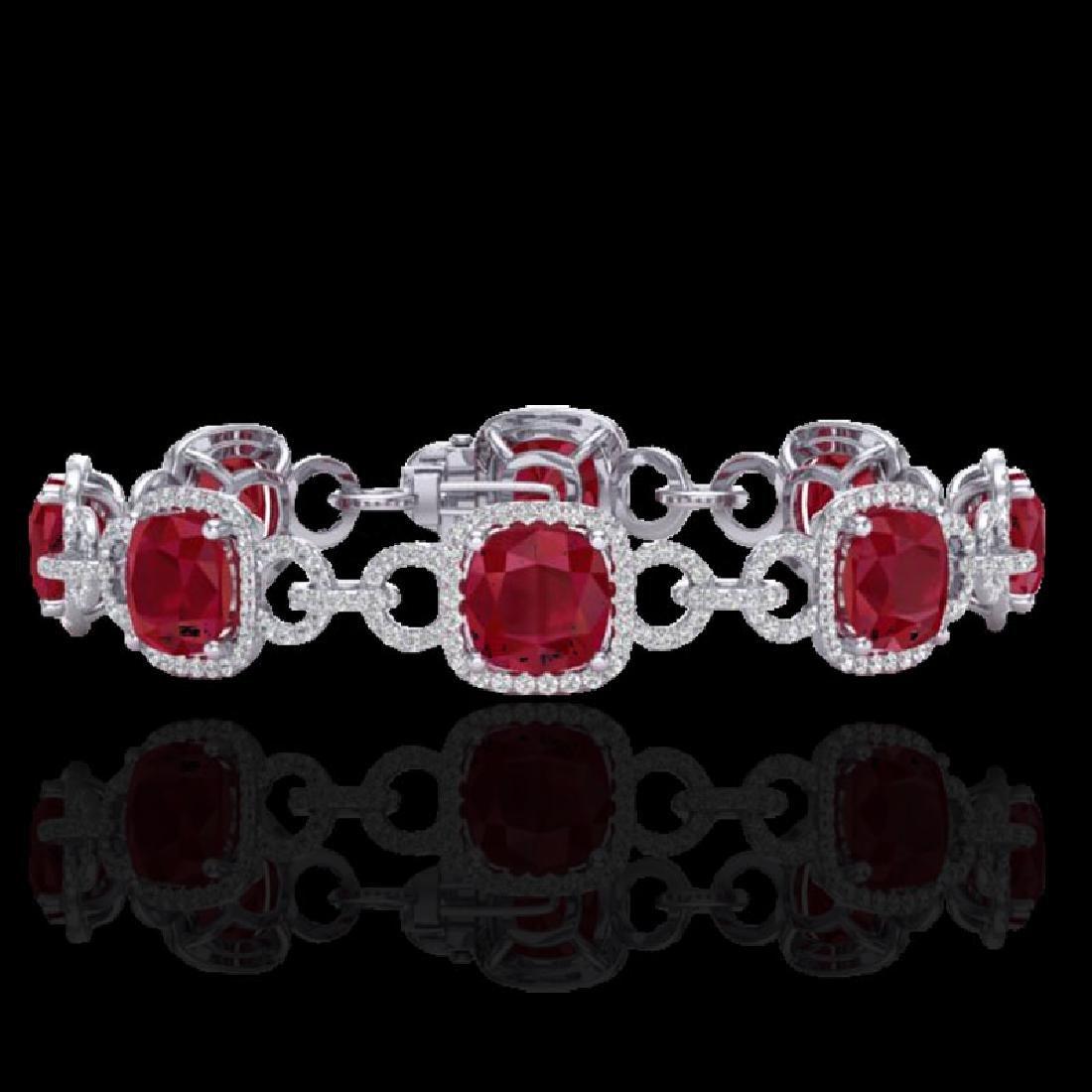25 CTW Ruby & Micro VS/SI Diamond Bracelet 14K White