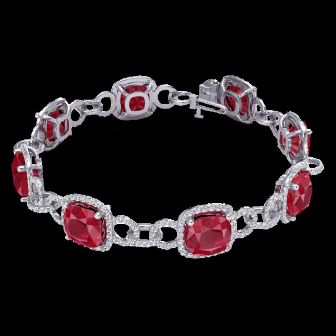 25 CTW Ruby & Micro VS/SI Diamond Bracelet 14K White - 2