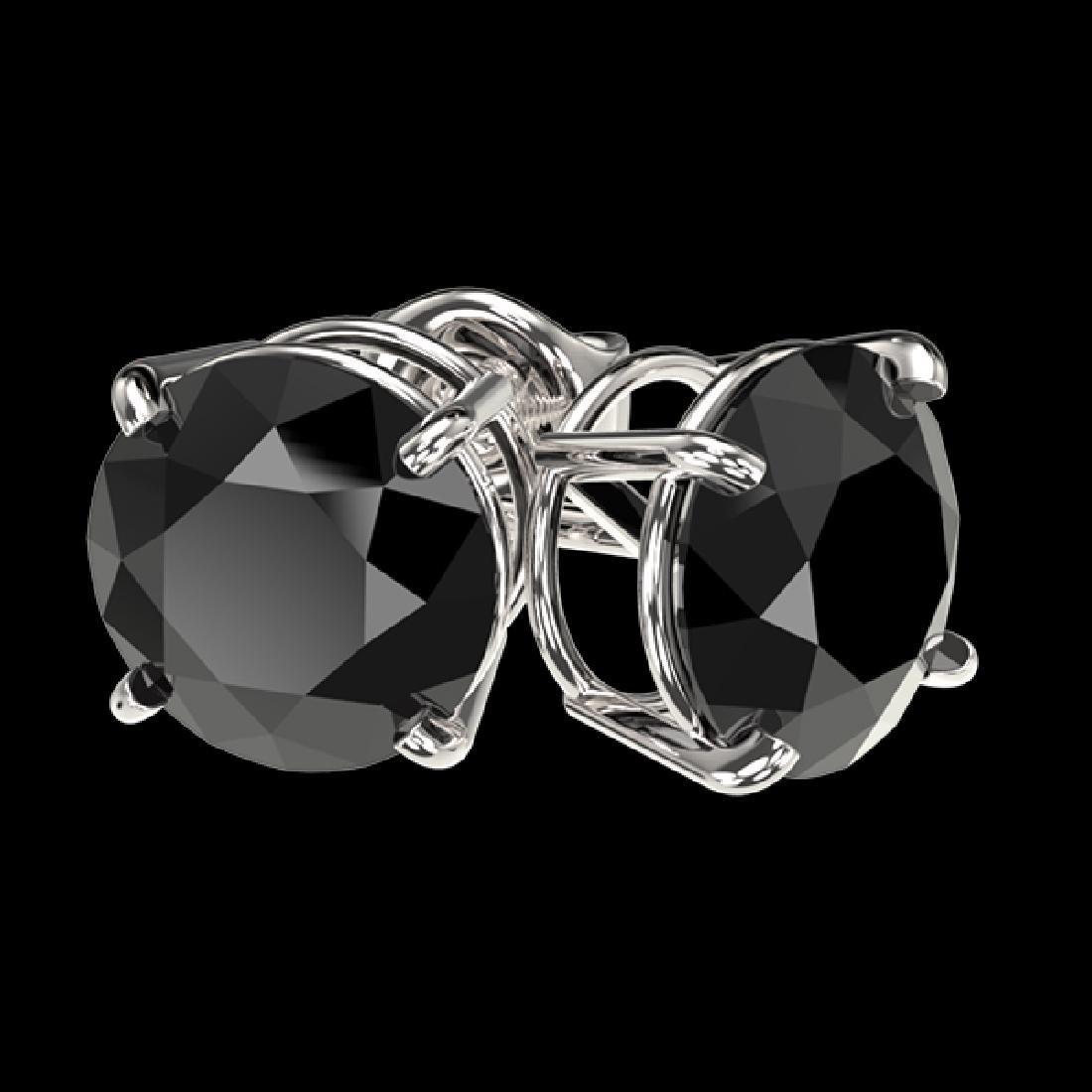 2.50 CTW Fancy Black VS Diamond Solitaire Stud Earrings - 3