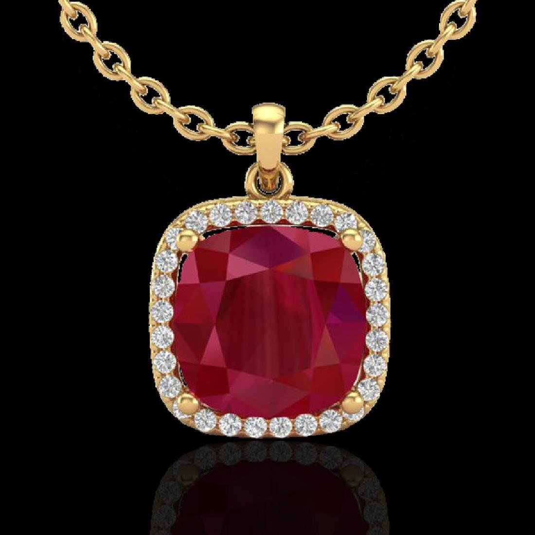 6 CTW Ruby & Micro Pave Halo VS/SI Diamond Necklace - 2