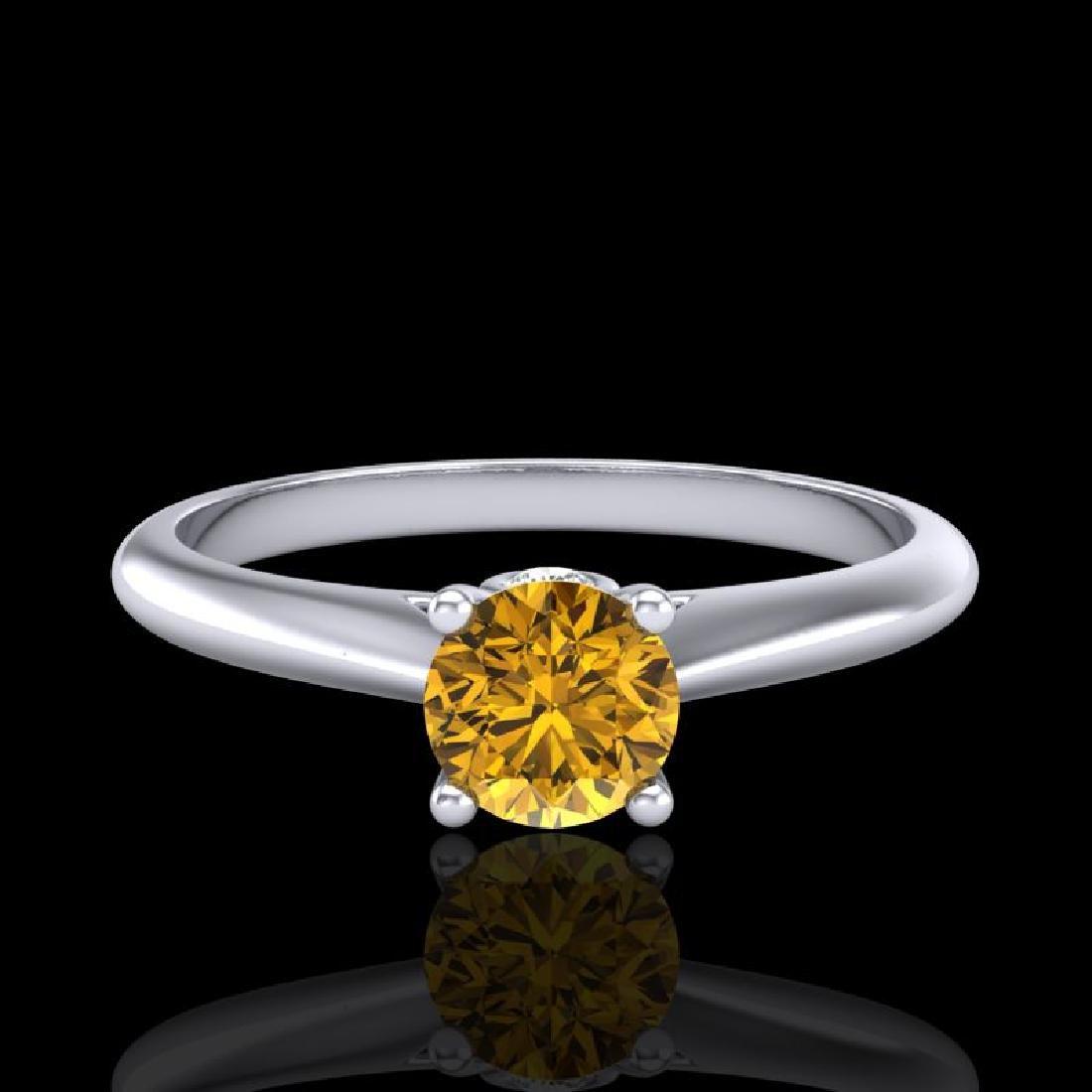 0.4 CTW Intense Fancy Yellow Diamond Engagement Art - 2