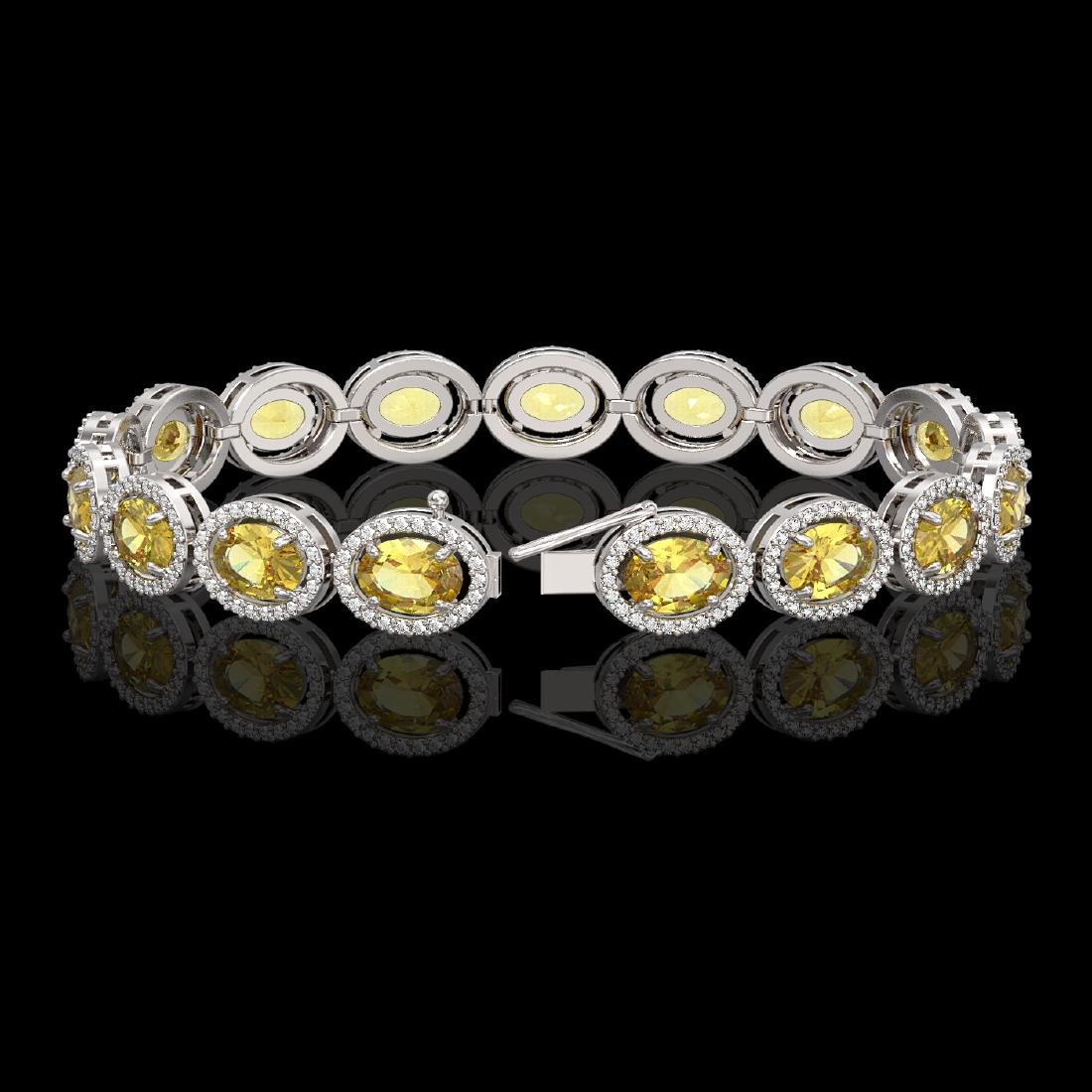20.36 CTW Fancy Citrine & Diamond Halo Bracelet 10K - 2