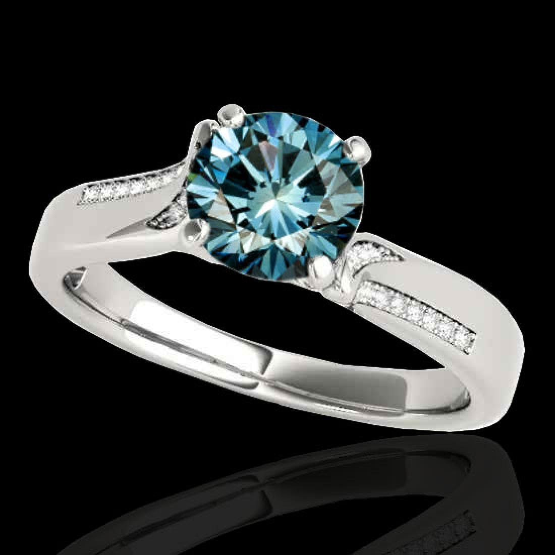 1.18 CTW SI Certified Fancy Blue Diamond Solitaire Ring