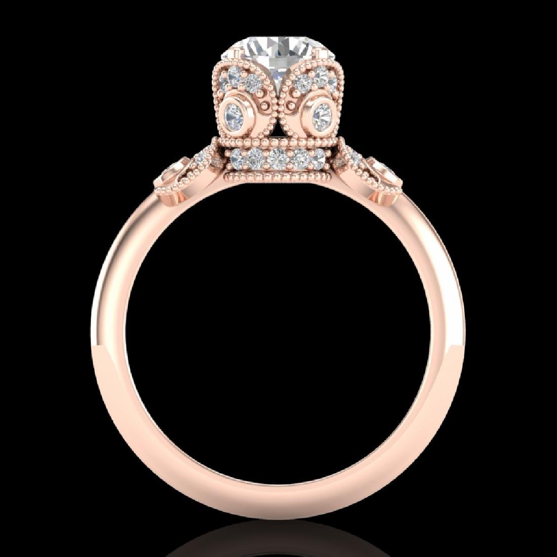 1.75 CTW VS/SI Diamond Solitaire Art Deco Ring 18K Rose - 2